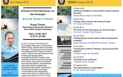 Forum Diskusi Ilmiah Perencanaan II 2019 Akan Diselenggarakan Departemen Perencanaan Wilayah & Kota
