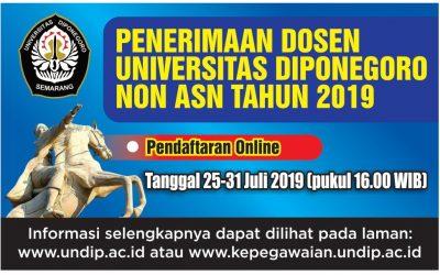 Penerimaan Dosen Universitas Diponegoro Non ASN Tahun 2019