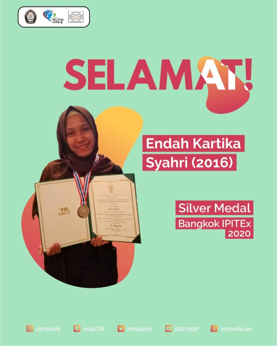 Endah Kartika Syahri, Mahasiswa Prodi S1 PWK Angkatan 2016, berhasil meraih penghargaan internasional berupa Silver Medal Bangkok IPITEx 2020 International, di Bangkok, Thailand