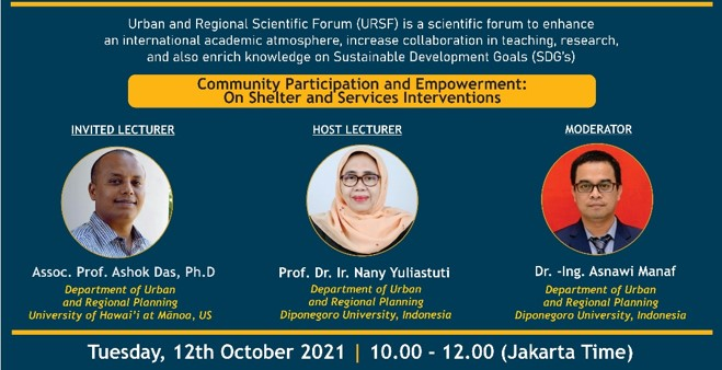 INTERNATIONAL LECTURE SERIES 2021 SERIES #04 COMMUNITY PARTICIPATION AND EMPOWERMENT:  ON SHELTER AND SERVICES INTERVENTIONS
