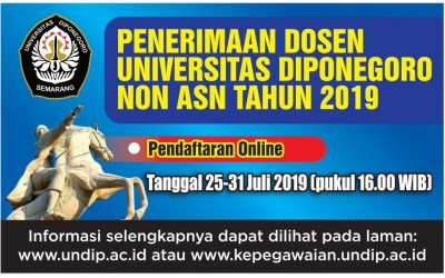 Admission of Diponegoro University Non-State Civil Servants (PU Non-ASN) Lecturers